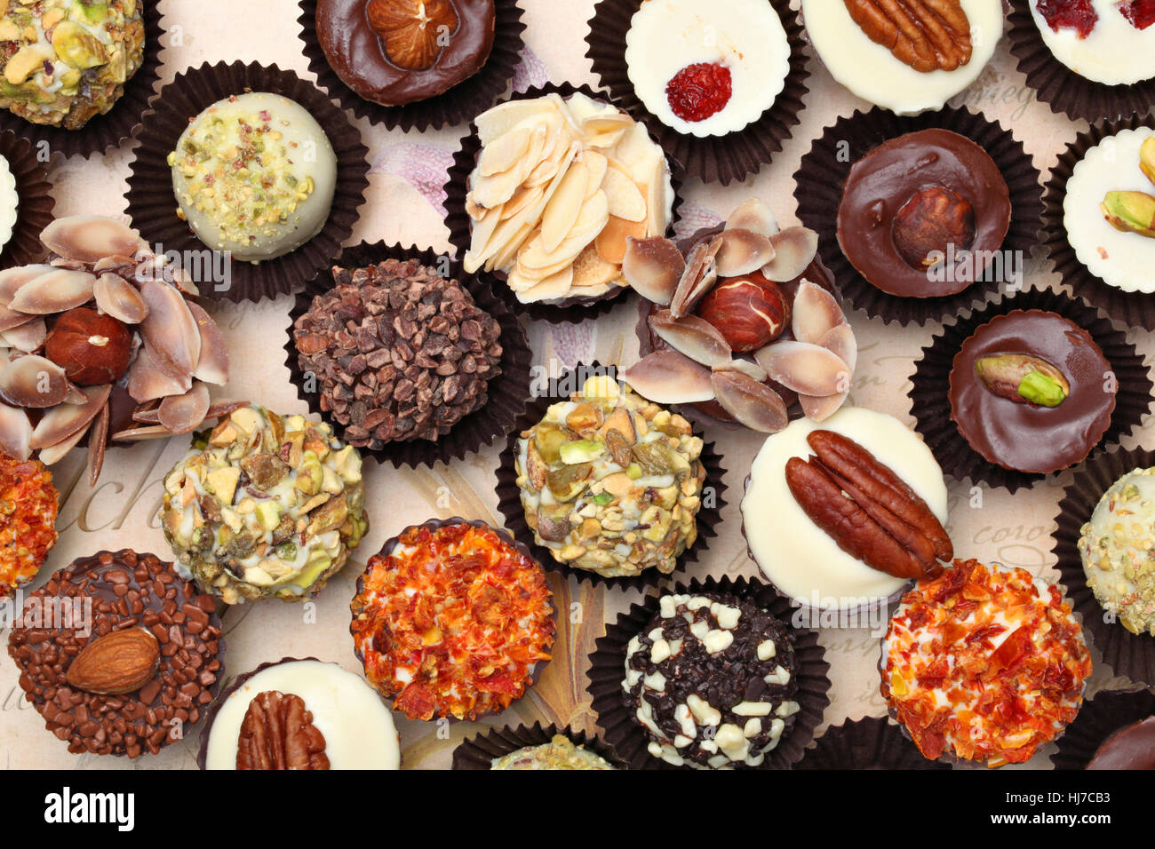 Background image of delicious handmade chocolate texture - Stock Image