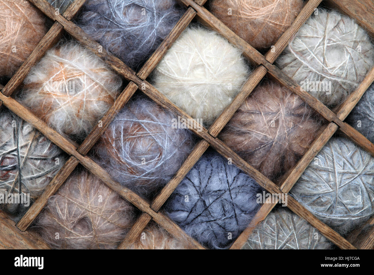 Image of colorful wool and mohair yarn collection - Stock Image