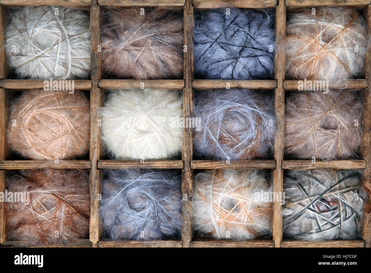 Image of colorful wool and mohair yarn collection. - Stock Image