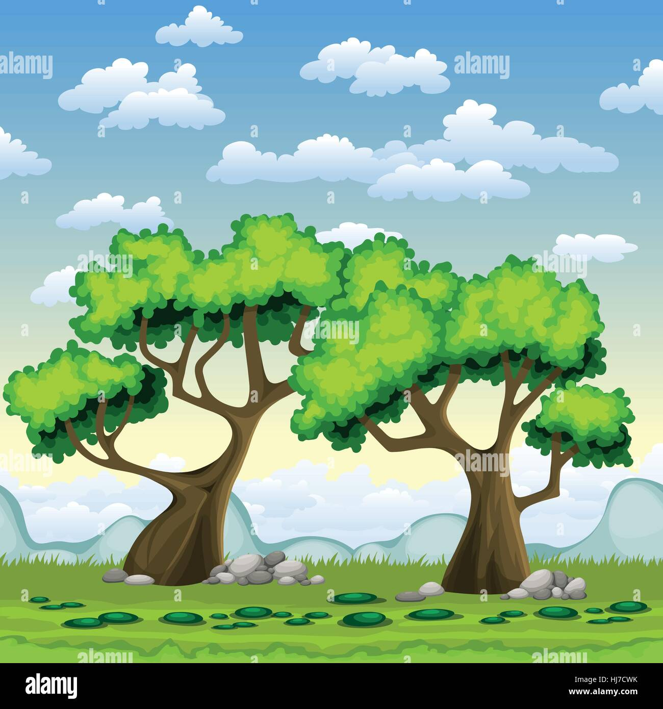 Green trees in summer - Stock Image