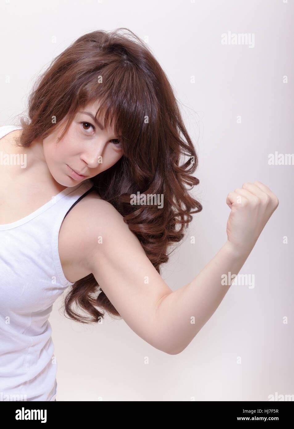 woman, single, female, brown, brownish, brunette, strong, blank, european, - Stock Image