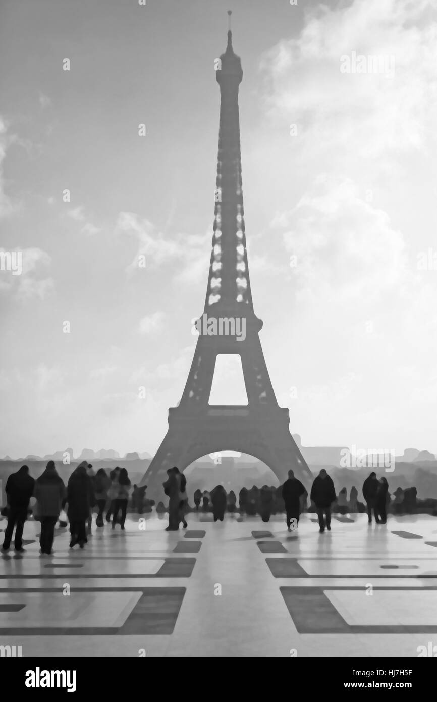 Paris, Eiffel Tower view from Trocadero,picture stylized image - Stock Image