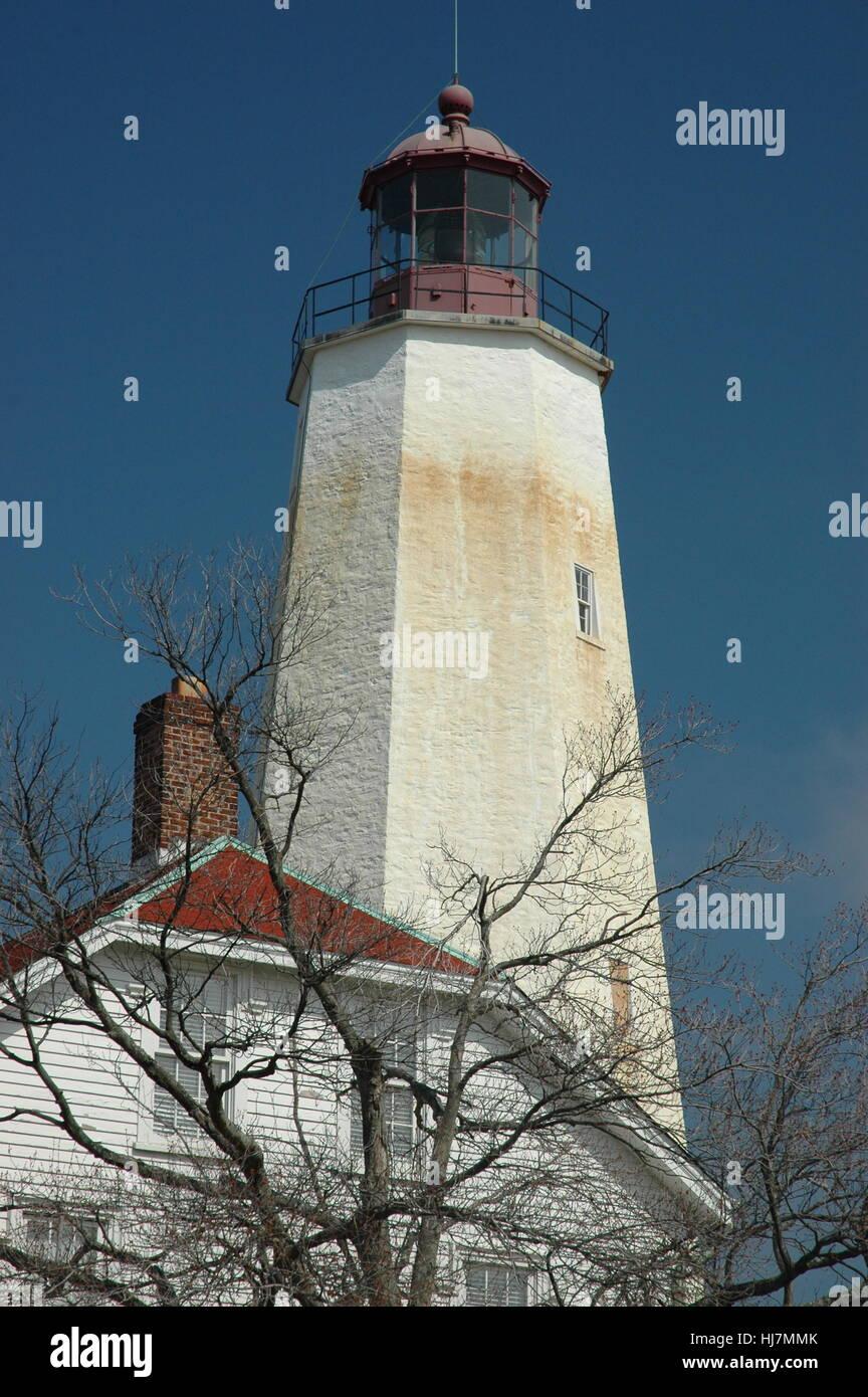 Lighthouse Sandy Hook New Jersey - Stock Image