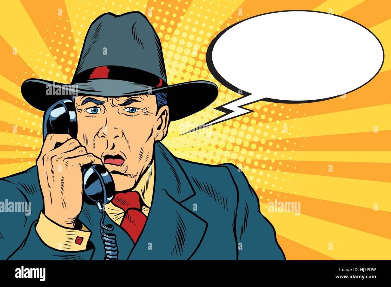 Surprised retro businessman talking on the phone - Stock Vector