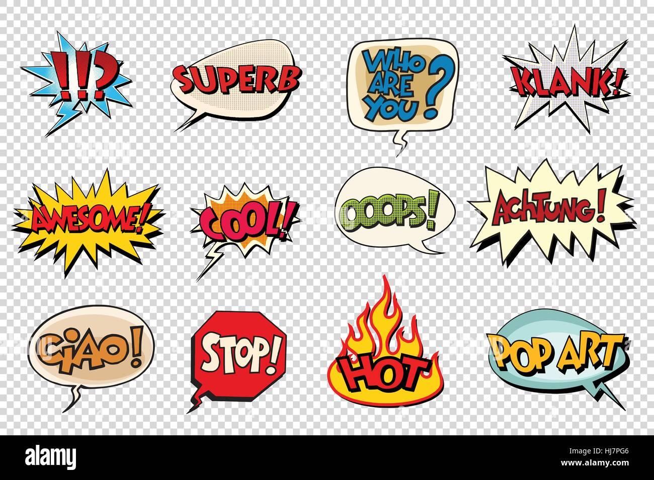 set comic book bubble stickers - Stock Vector