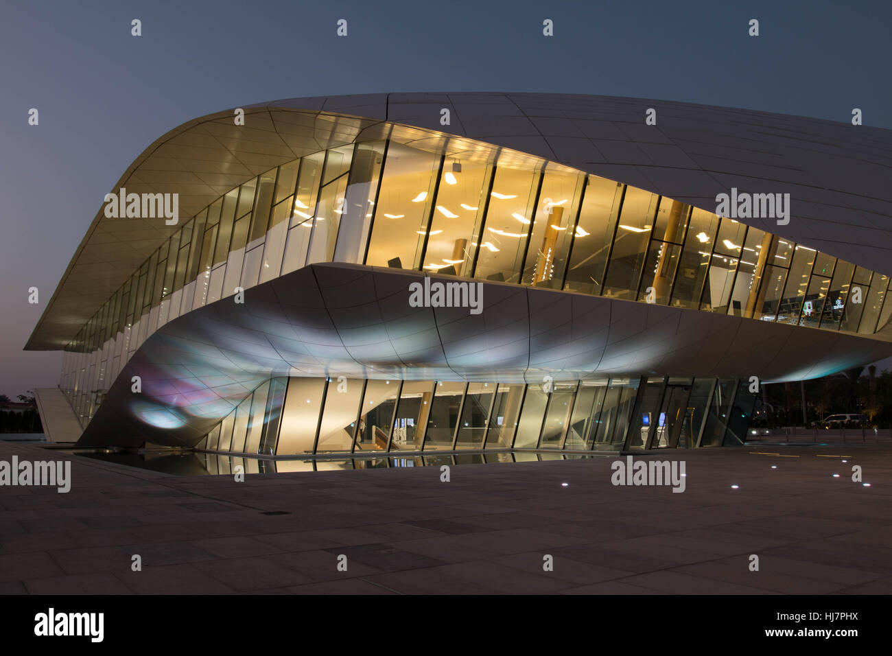 Etihad museum street front side view of building at night Dubai - Stock Image