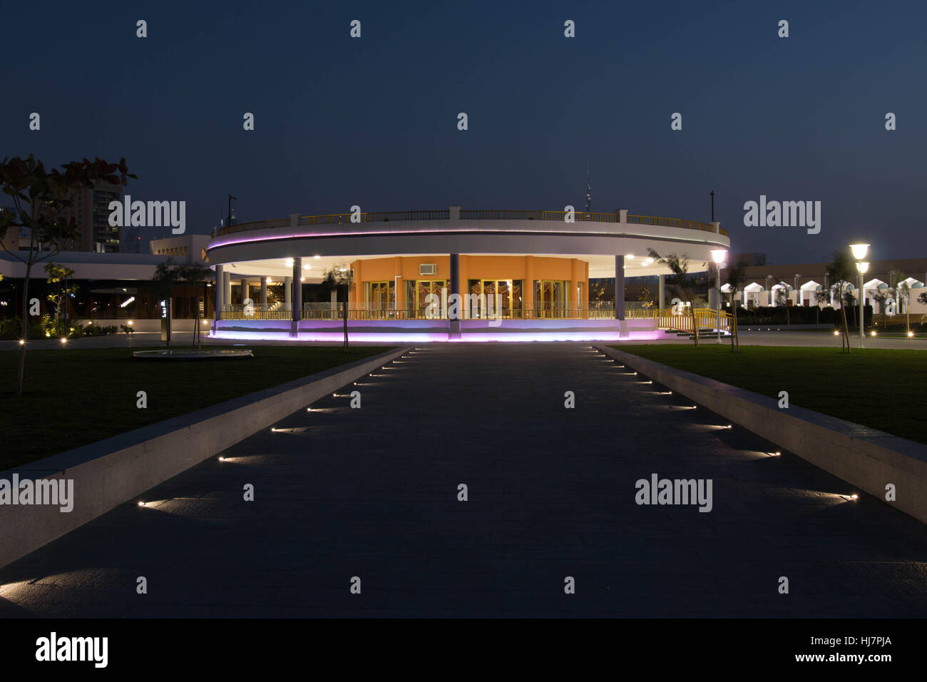 Etihad museum gardens at night Dubai - Stock Image