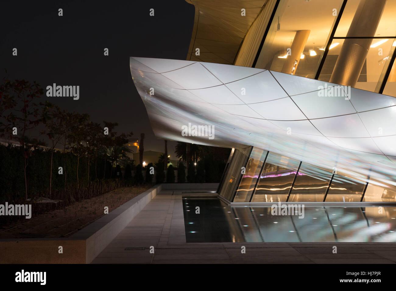 Etihad museum rear of building at night Dubai - Stock Image