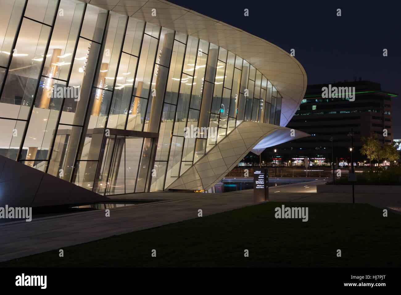 Etihad museum side of building at night Dubai - Stock Image