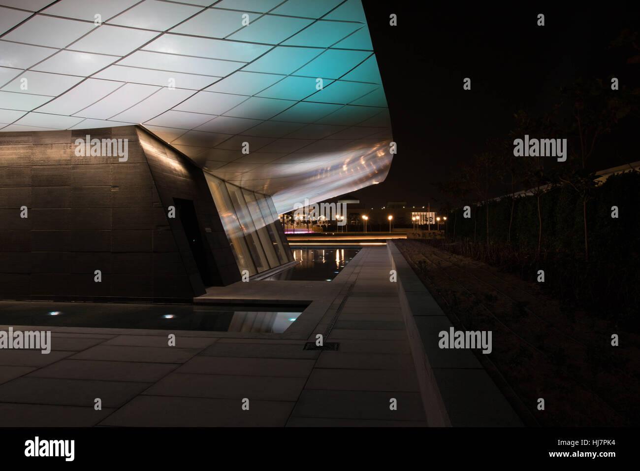 Etihad museum rear of building Dubai - Stock Image