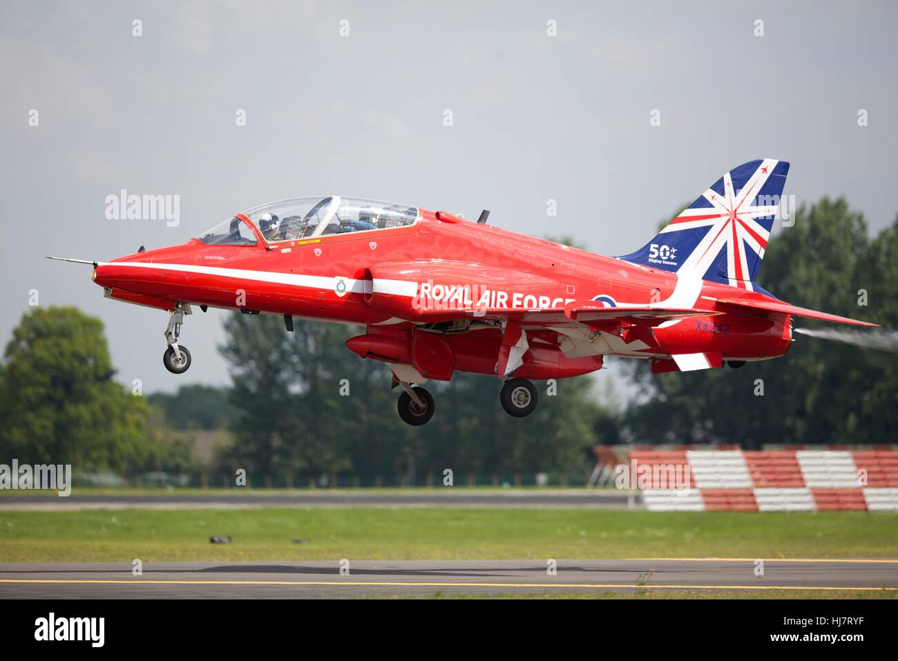 BAE Systems Hawk T1 of the Red Arrows taking off from RAF Fairford - Stock Image