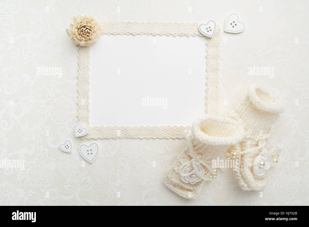 New Born Or Baptism Greeting Card Blank Paper With Baby Girl Shoes