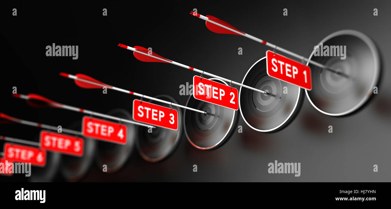 3D illustration of arrows with red signs hitting modern targets over black background. Training steps concept, horizontal - Stock Image