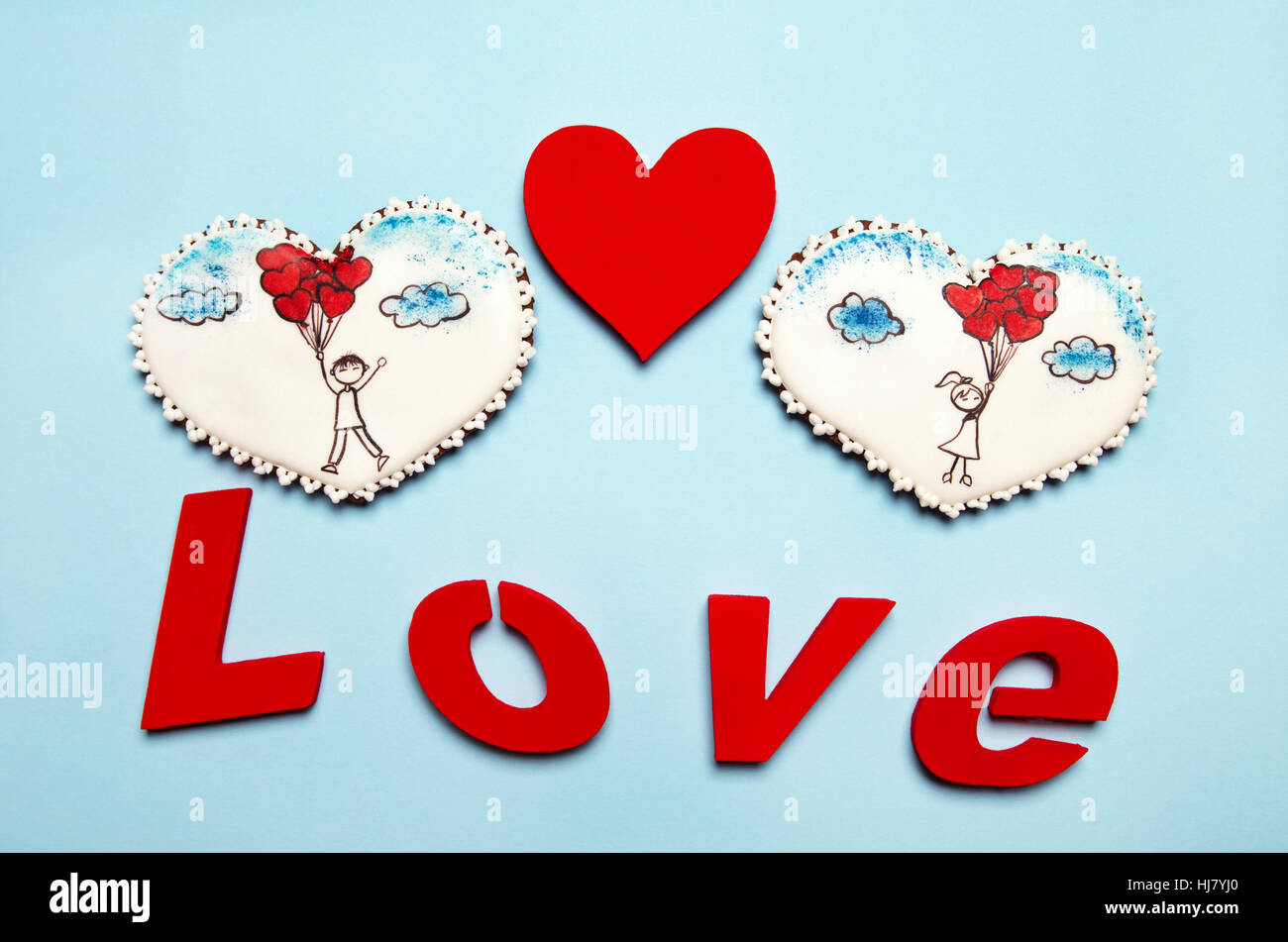 Gingerbread Hearts With Emotional Scenes Word Love