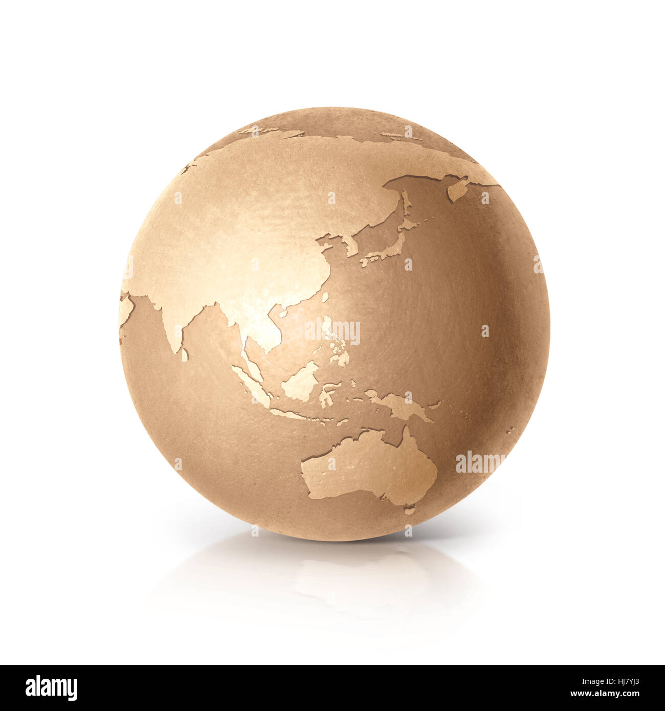 Golden globe 3d illustration asia australia map on white golden globe 3d illustration asia australia map on white background gumiabroncs Image collections