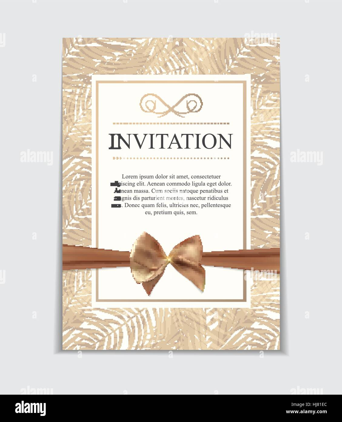 Vintage Wedding Invitation with Bow and Ribbon Template Vector Illutsration Stock Vector