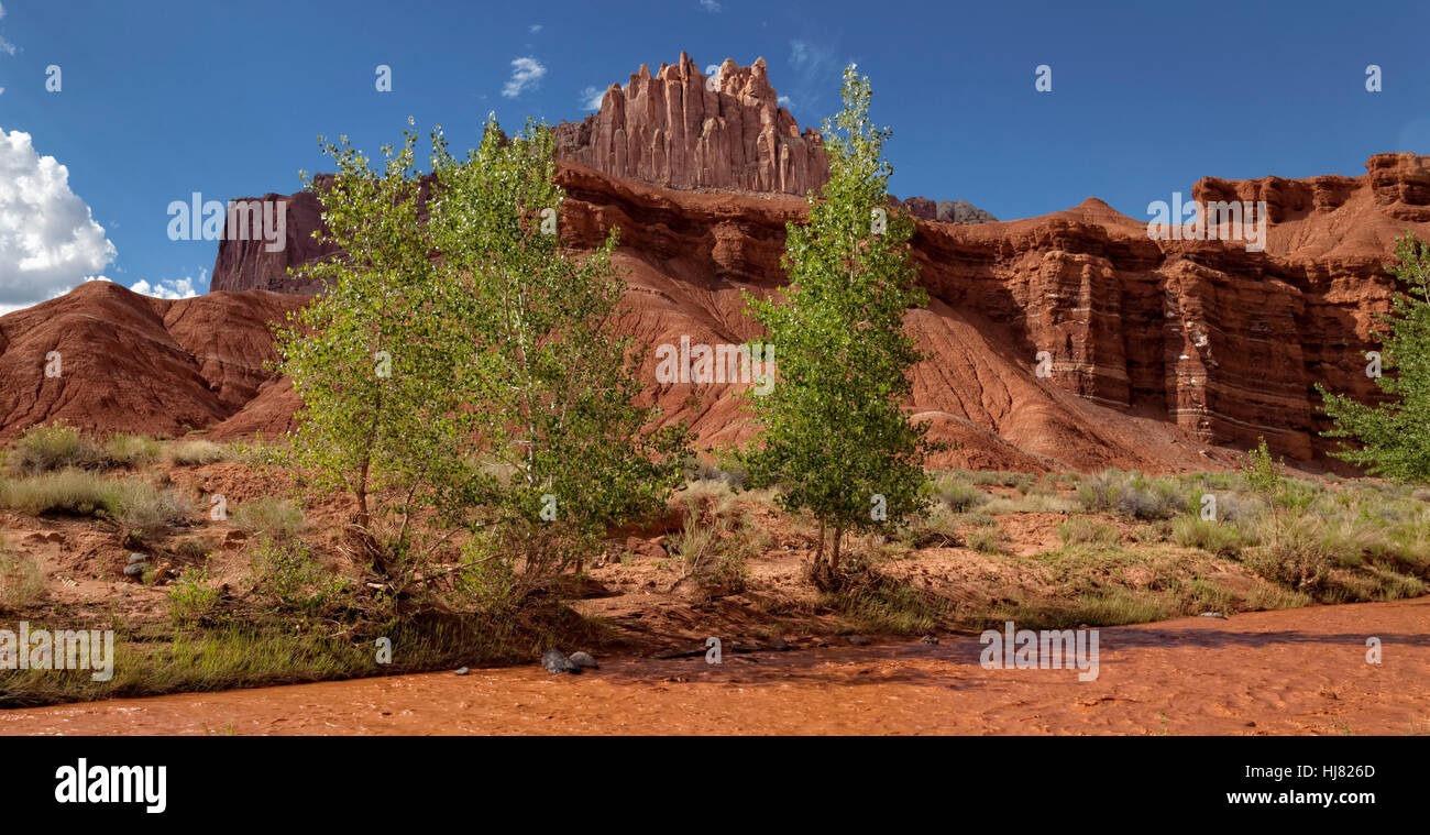 The Castle & the Muddy Freemont River, Capitol Reef National Park, Utah - Stock Image