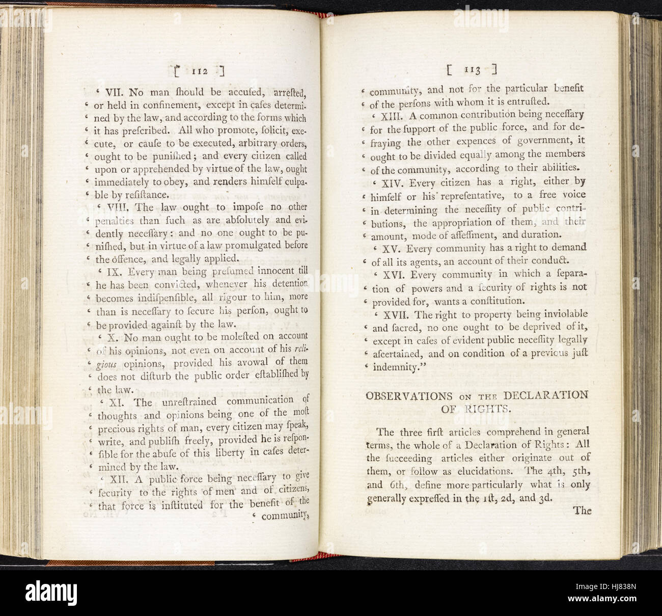 'Declaration of the Rights of Man' from 'Rights of Man' by Thomas Paine (1736-1809) English-American political writer, - Stock Image