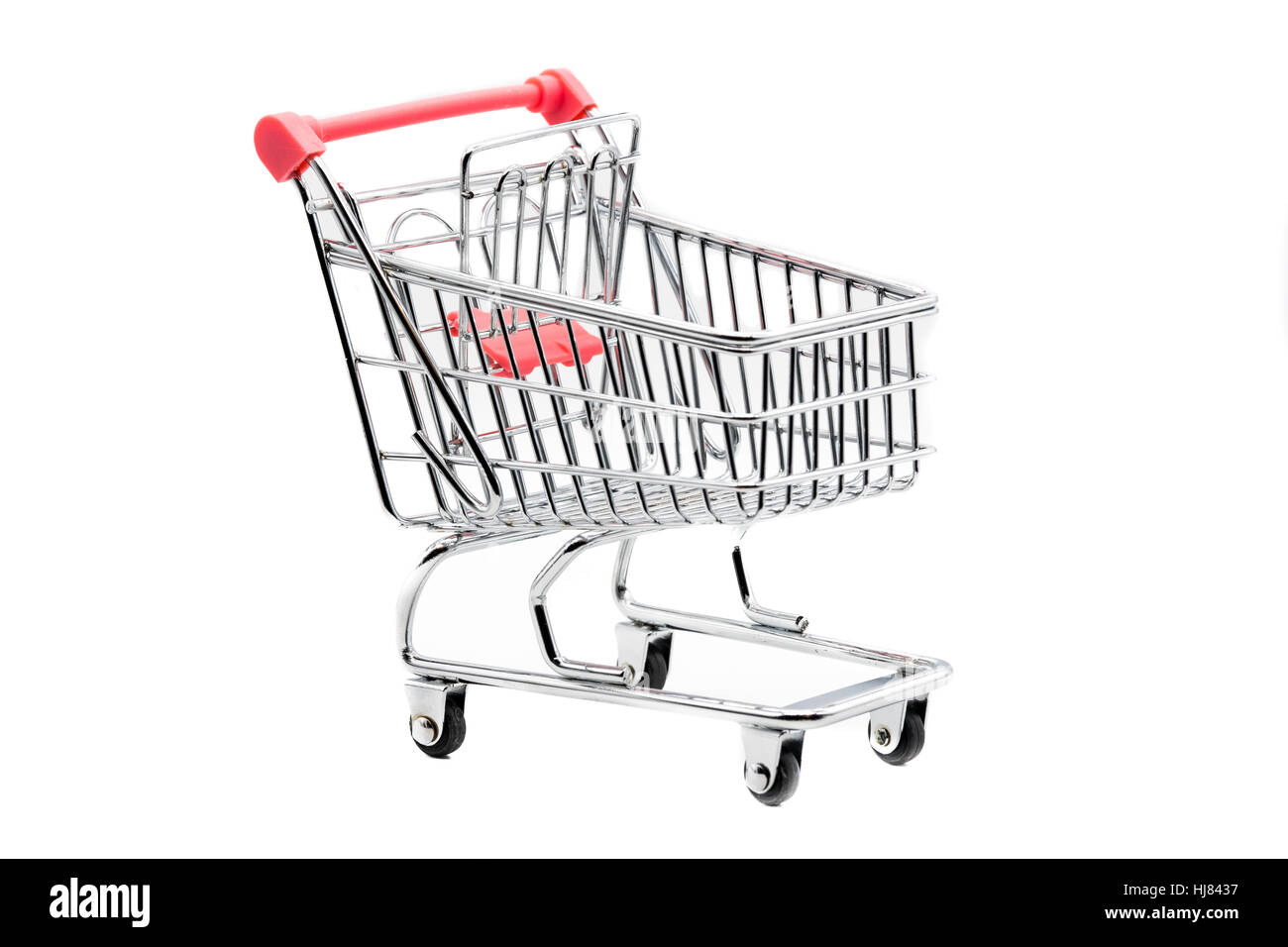 Empty shopping trolley isolated on white - Stock Image