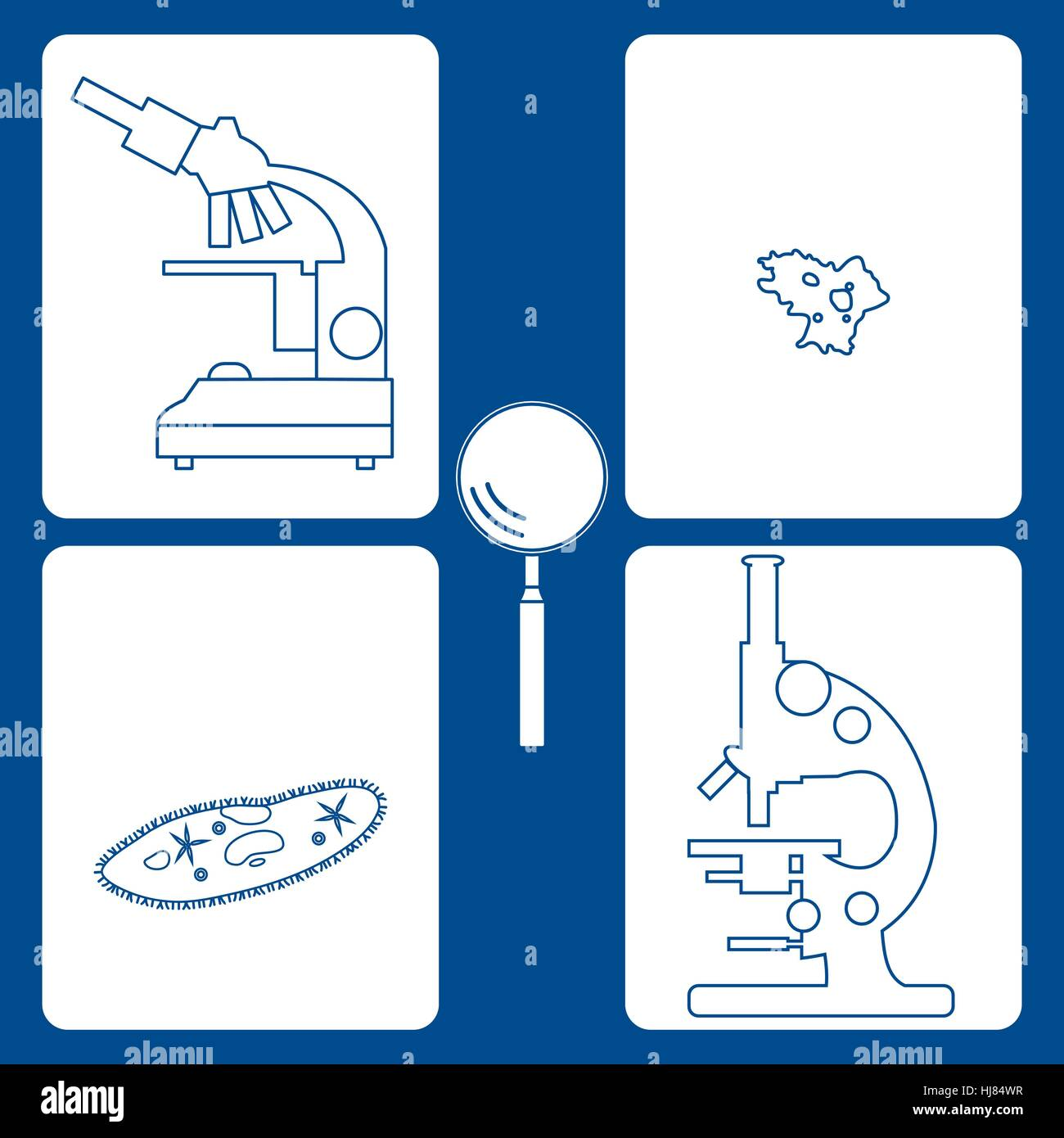 Stylized icons of microscopes, magnifier, amoeba, ciliate-slipper. Magnifying device sign. Laboratory equipment - Stock Vector