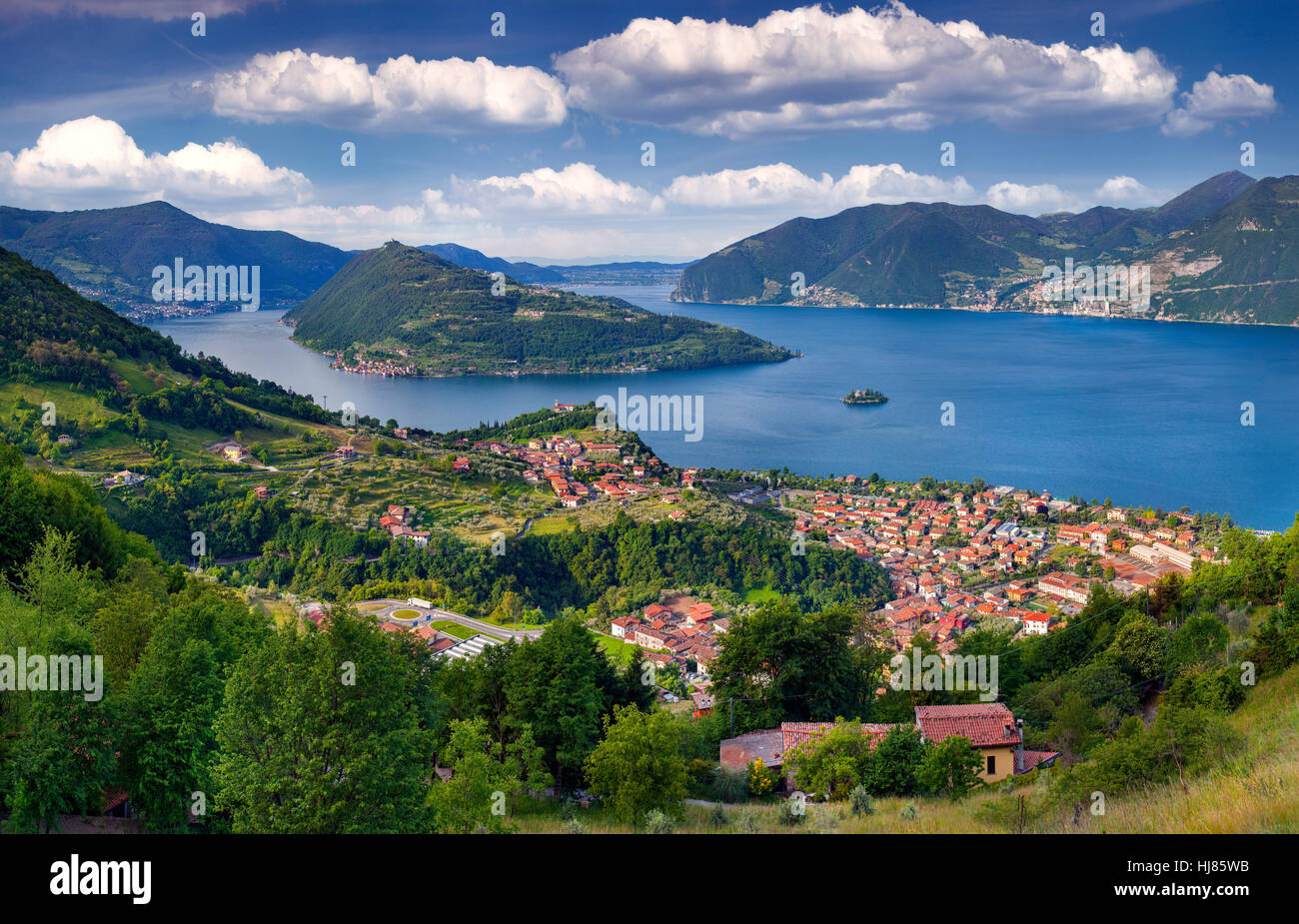 View of the city Marone, a bright sunny day. Italy, the Alps, Lake Iseo. - Stock Image