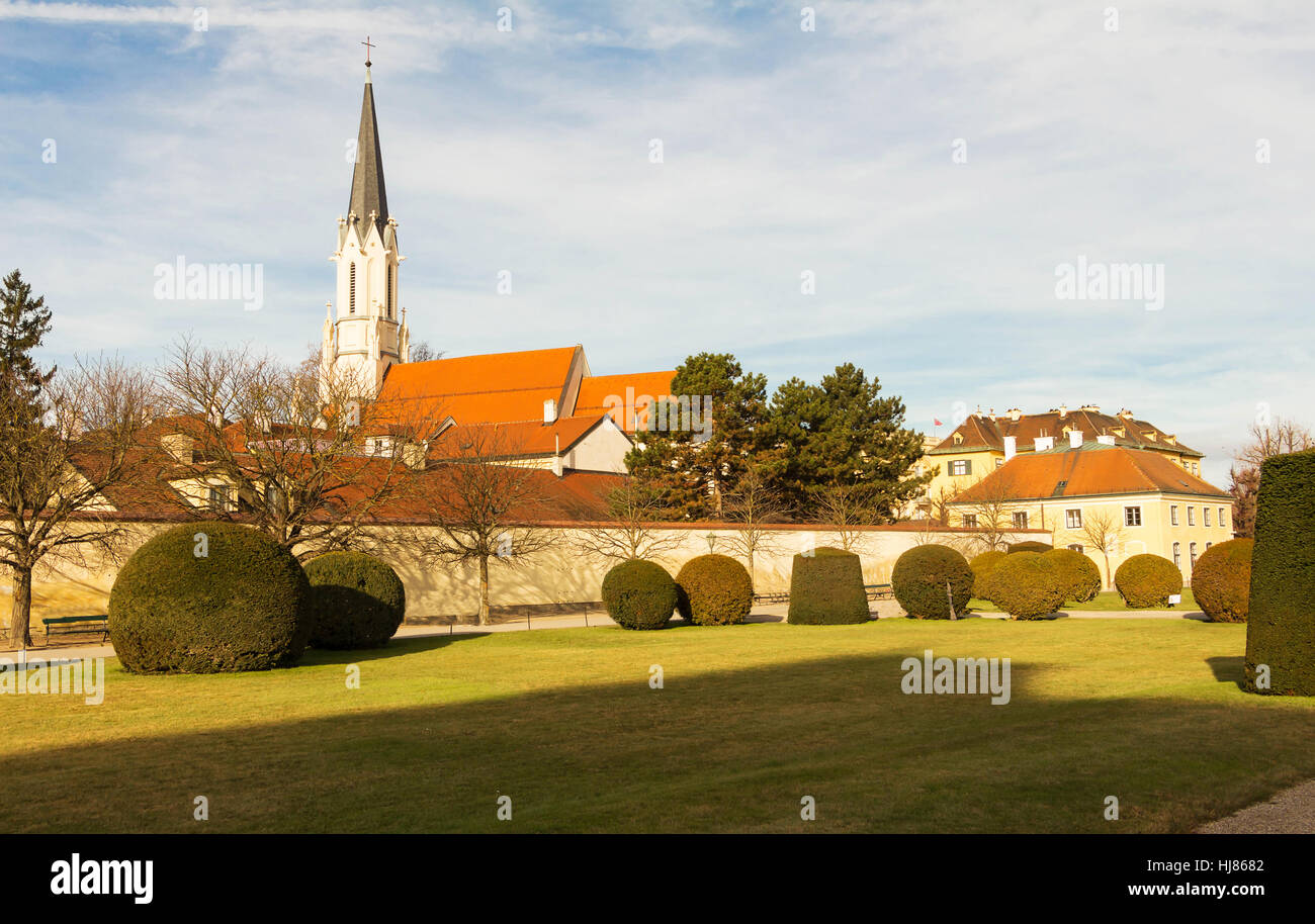 The Catholic parish church Maria Hietzing view from the Schonbrunn garden, Vienna, Austria. - Stock Image