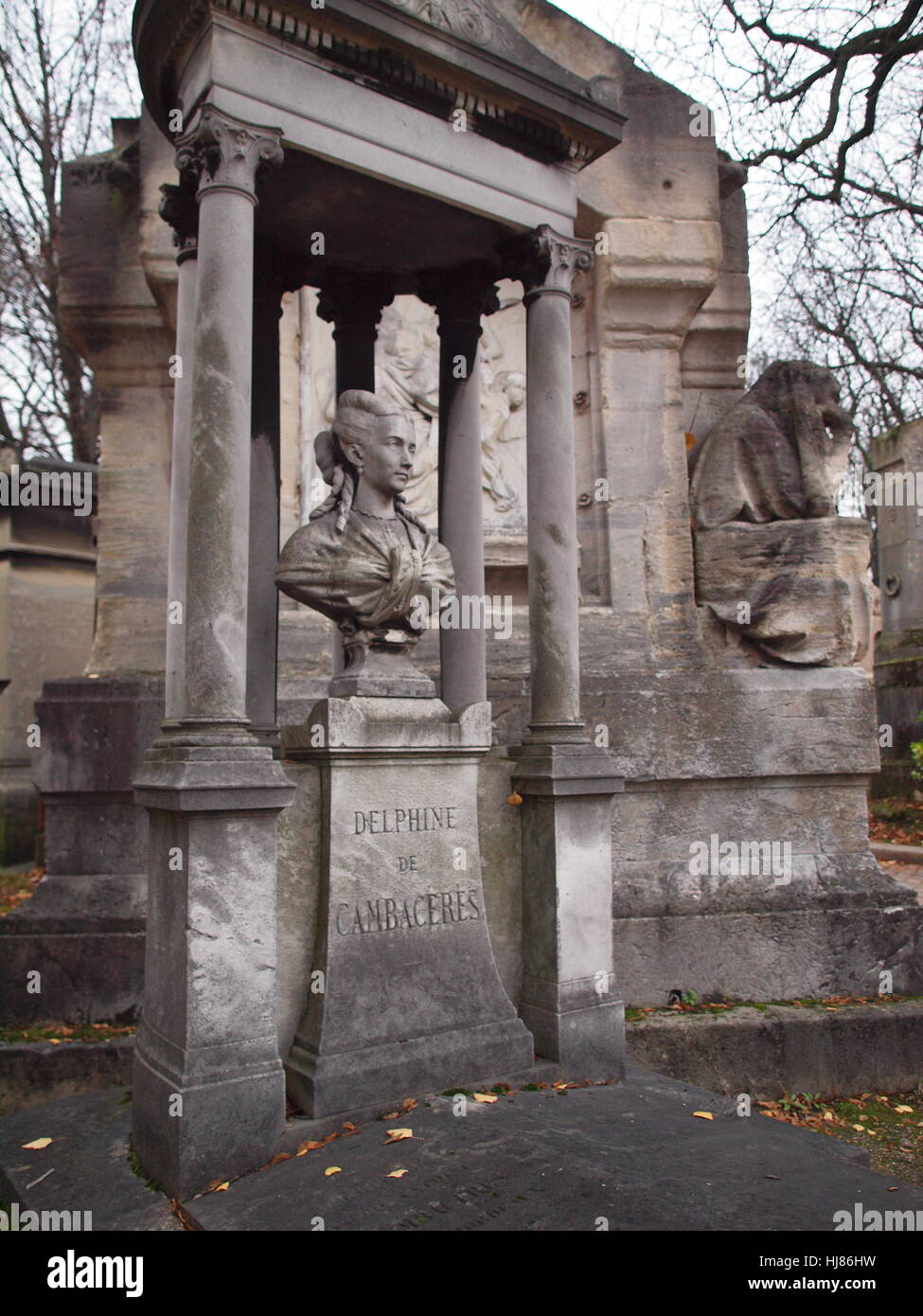 Haunting and Poetic Grave of Delphine de Cambaceres in Pere Lachaise Cemetery Paris - Stock Image