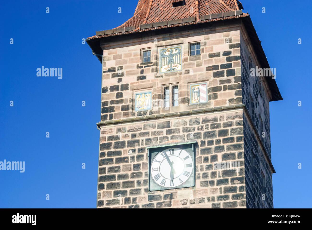 Nürnberg, Nuremberg: old town; Laufer Schlagturm tower, Mittelfranken, Middle Franconia, Bayern, Bavaria, Germany - Stock Image