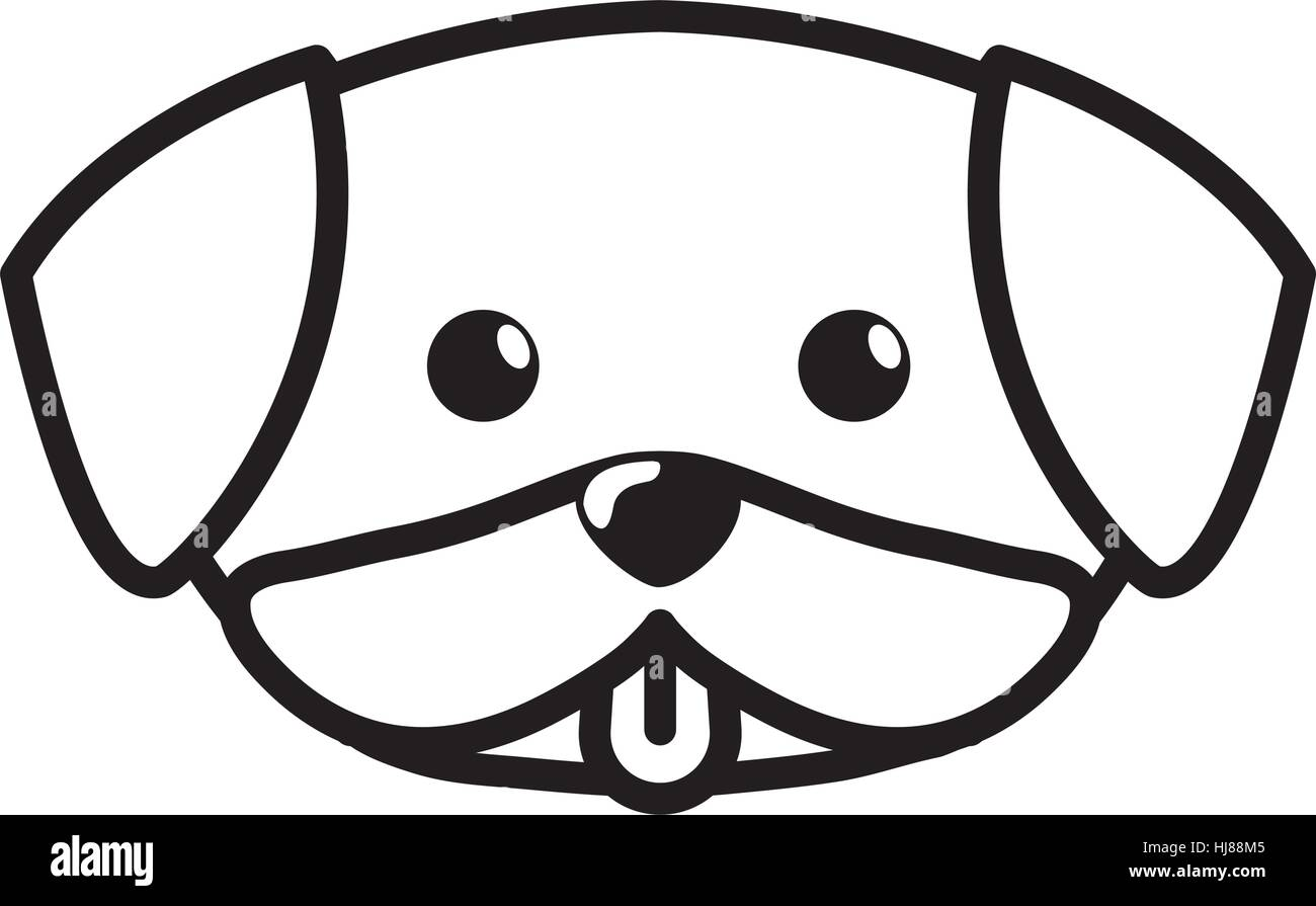 Face Dog Cute Tongue Out Outline Vector Illustration Eps 10 Stock
