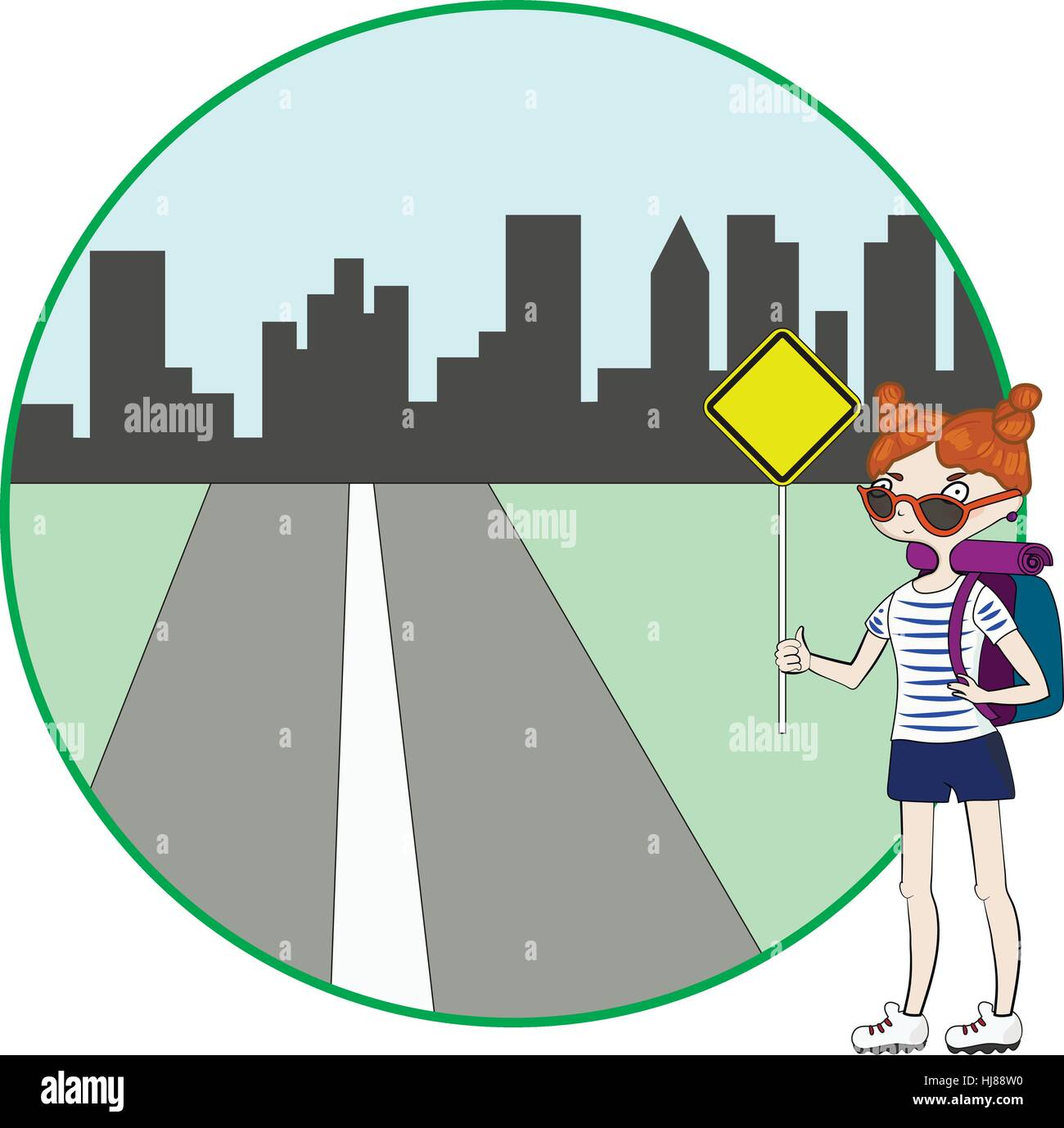 Young woman with backpack hitchhiking on roadside Stock Vector