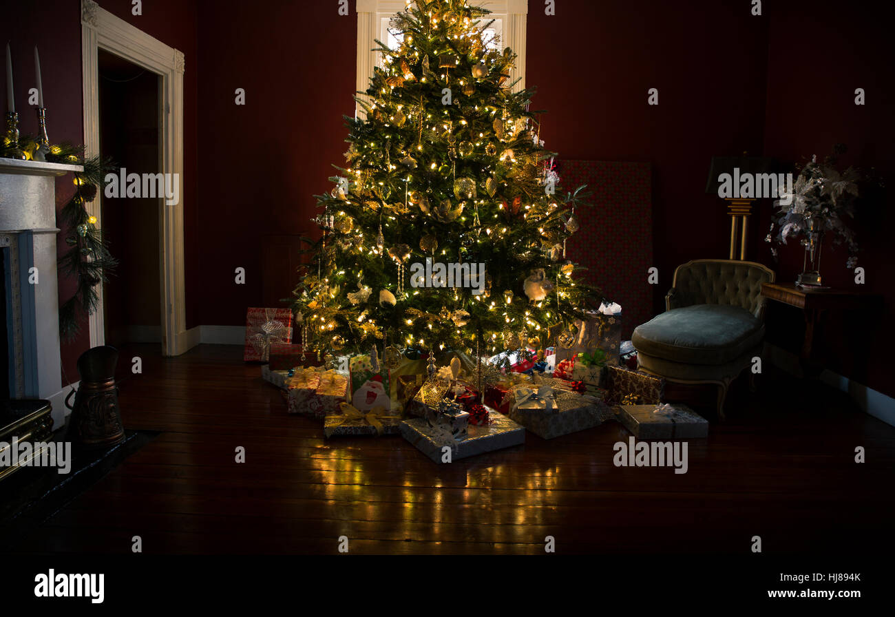 Christmas Tree With Lights.Christmas Tree With Presents And Lights Reflected On The