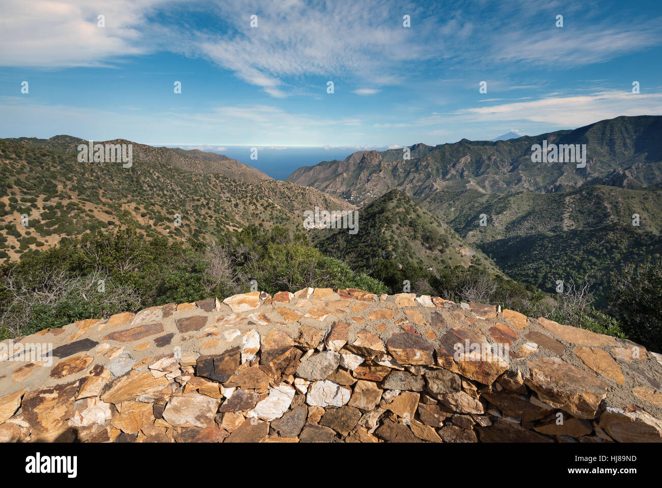 La Gomera landscape, viewpoint with mountains and canyons in the background in La Gomera, Canary islands, Spain. - Stock Image