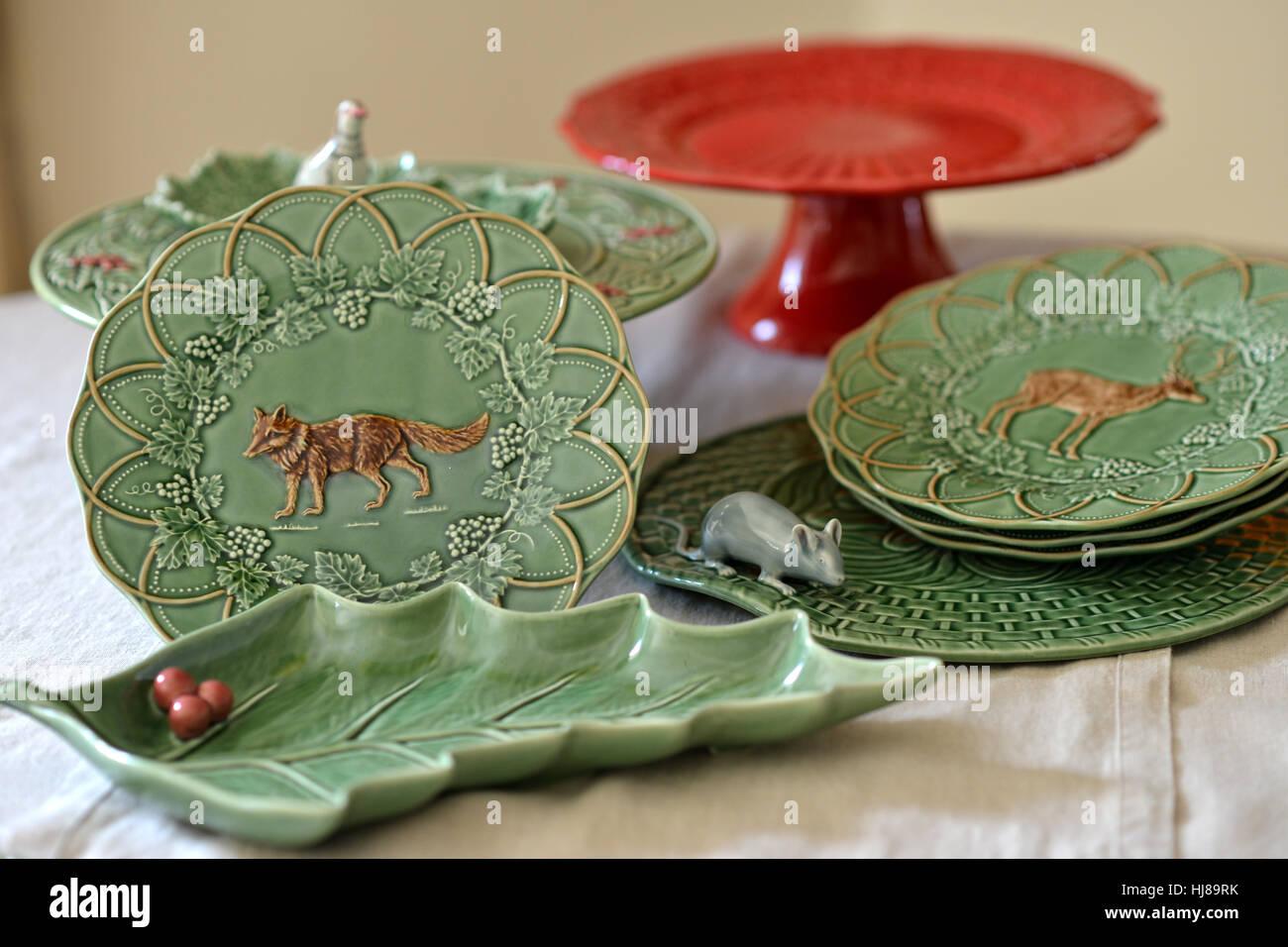 Bordallo Pinheiro Portuguese ceramics - Stock Image & Bordallo Pinheiro Tableware Stock Photos u0026 Bordallo Pinheiro ...