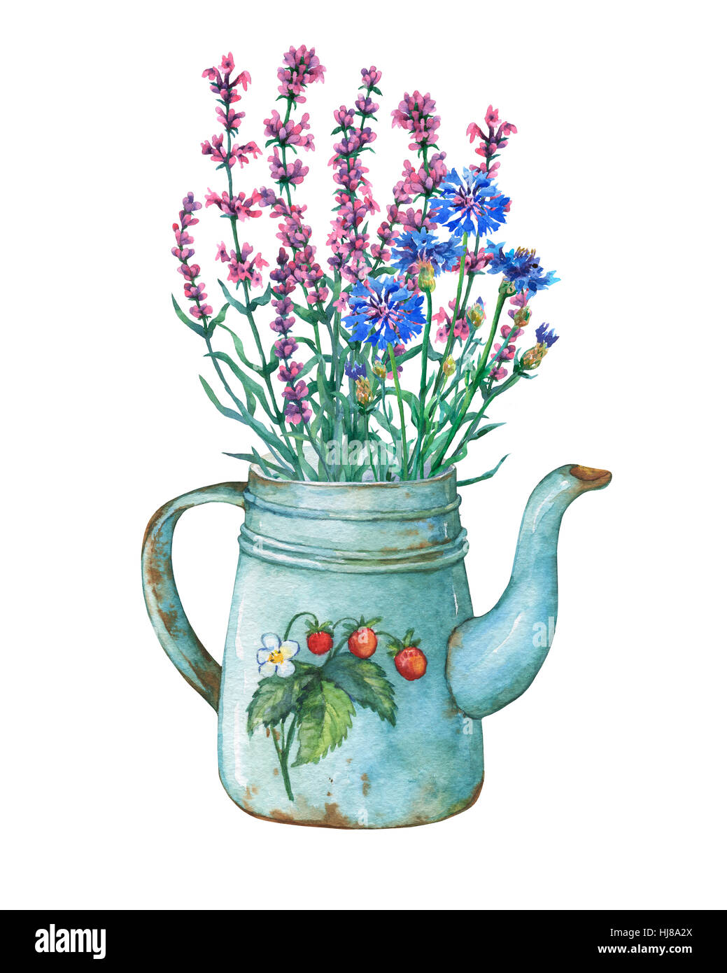 Vintage blue metal teapot with strawberries pattern and bouquet of ...