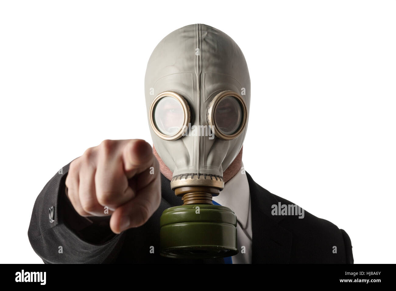 business man wearing a old gas mask Stock Photo: 131720035