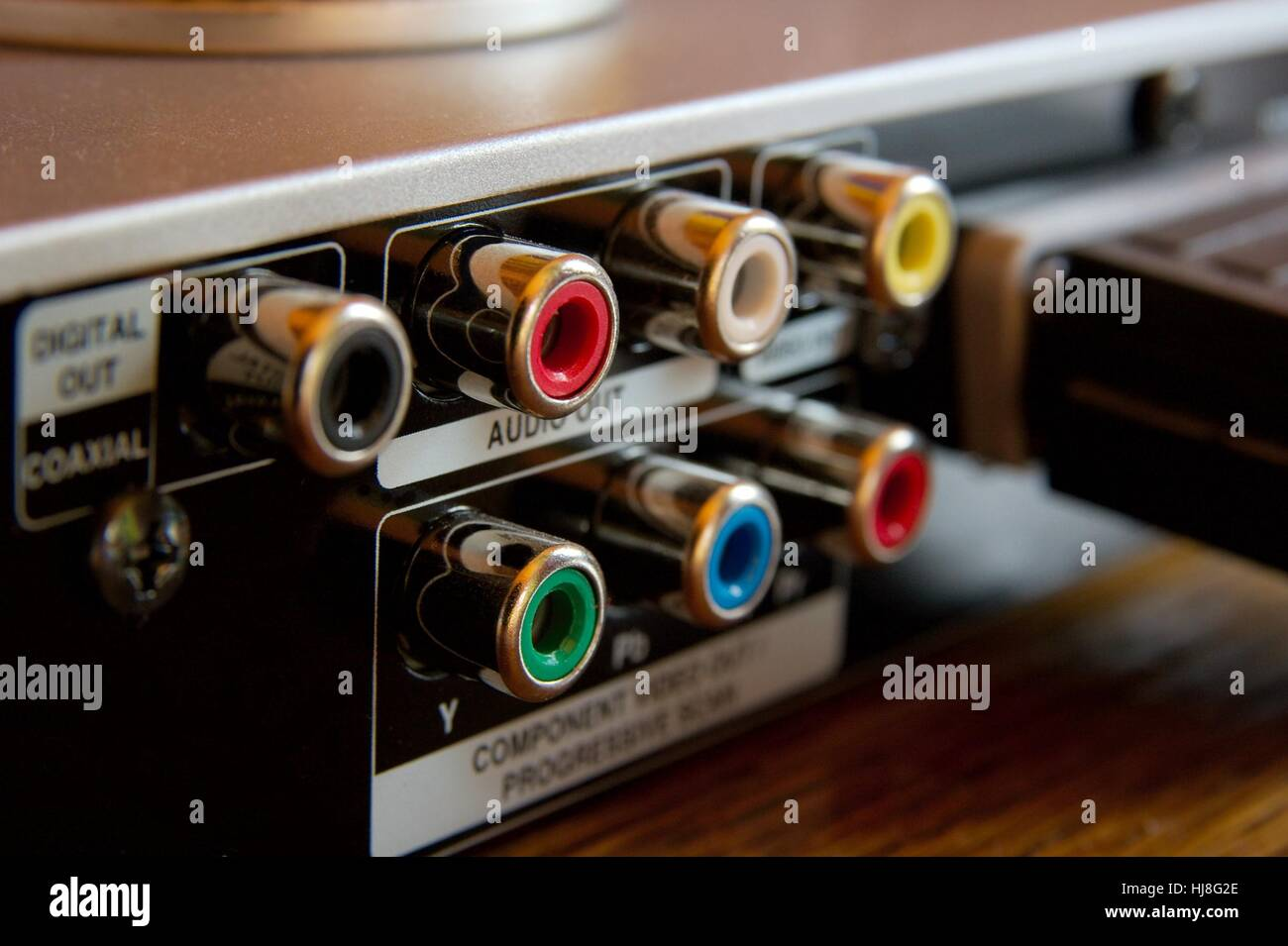 RCA connections on the back of a DVD player Stock Photo: 131724614 ...