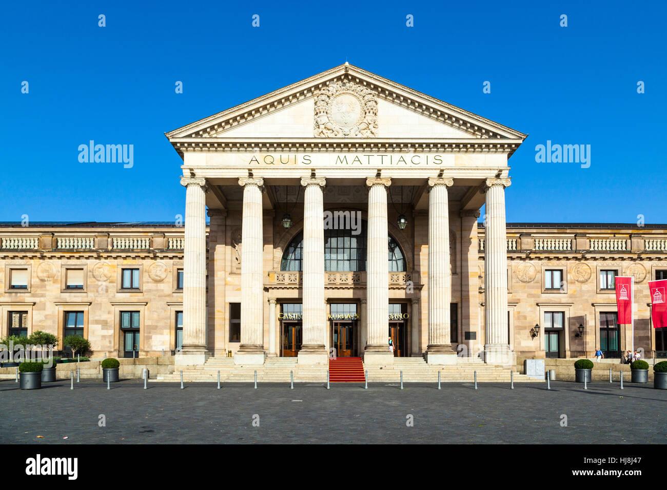 restaurant, city, town, park, casino, facade, spa, mineral spring, medicinal - Stock Image