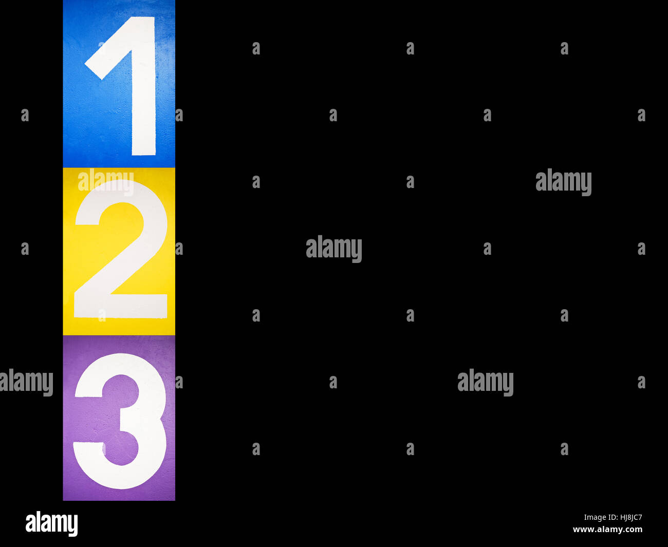 row, three, one, number, enumeration, two, silver, row, three, winner, one, - Stock Image