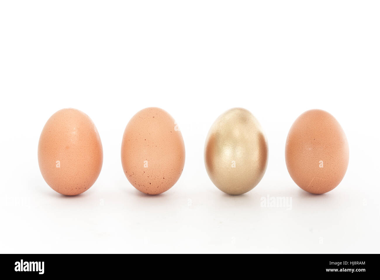 Four eggs in a row with one gold one on white background - Stock Image