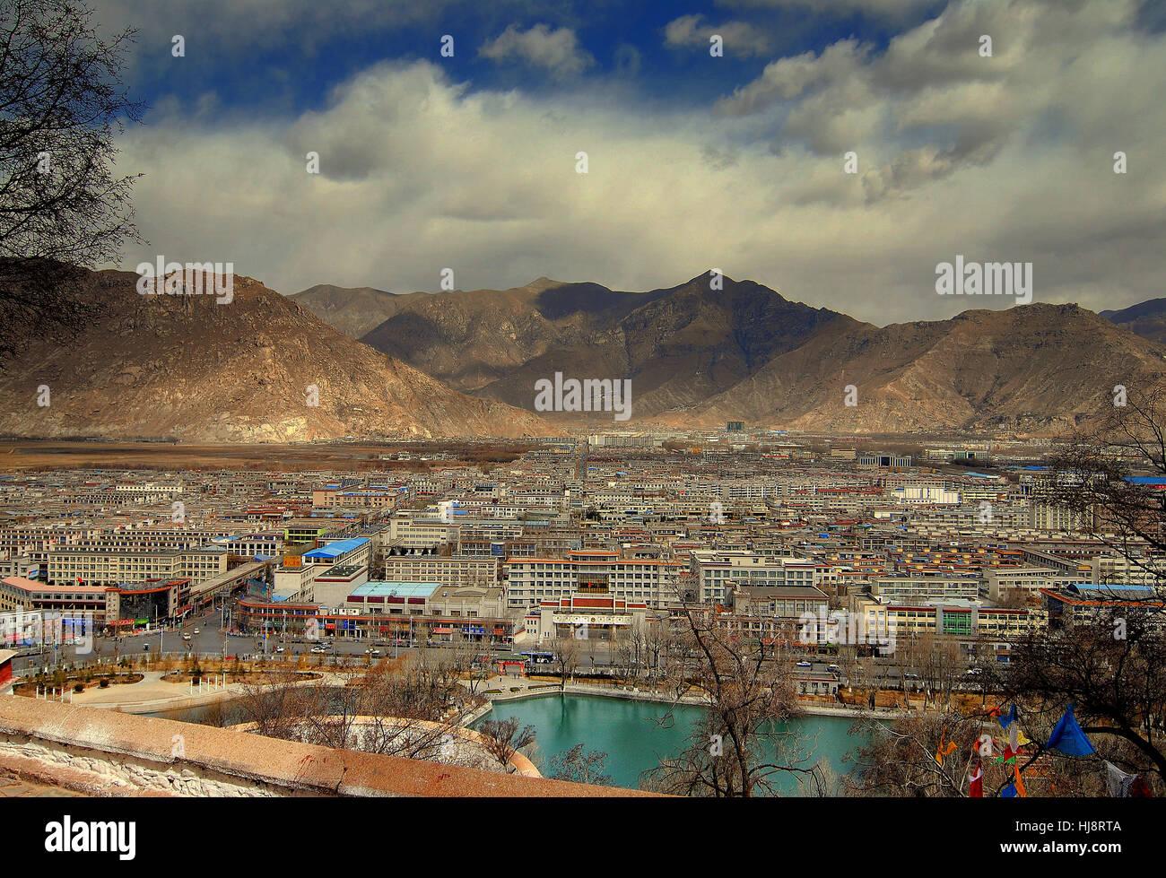 Aerial city view, Lhasa, Tibet, China - Stock Image