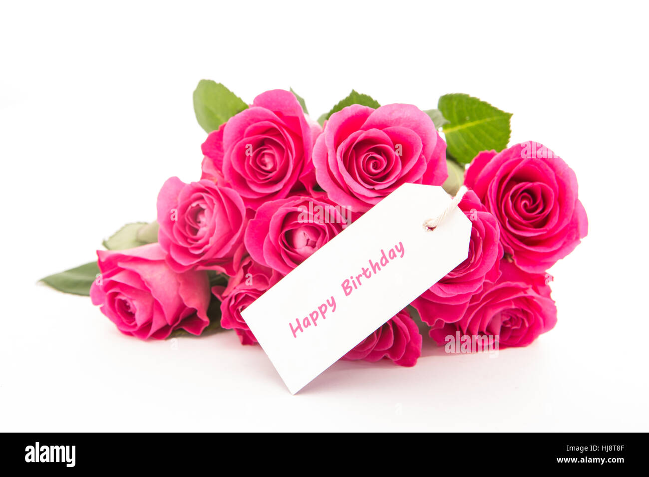 Close up of a bouquet of pink roses with a happy birthday blank day close up of a bouquet of pink roses with a happy birthday blank day card on a white background izmirmasajfo