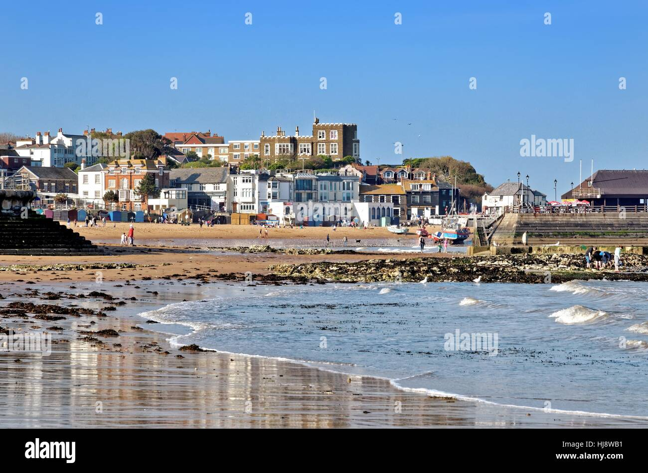 Beach and seafront at Broadstairs Kent UK - Stock Image