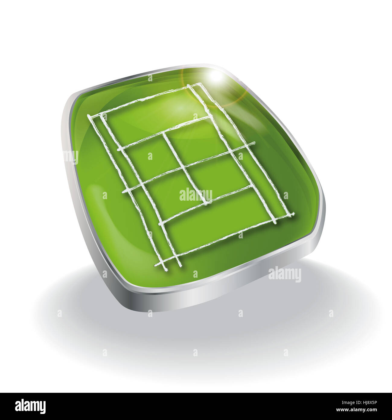 grass and tennis court - Stock Image