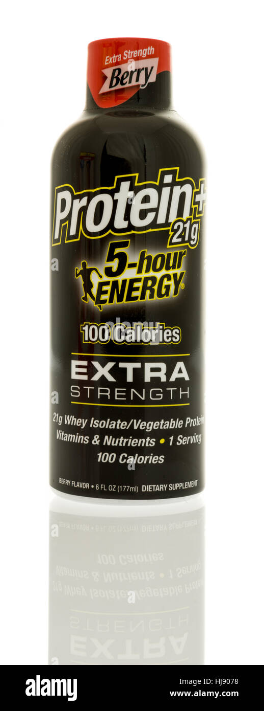 Winneconne, WI -22 January 2017:  Bottle of 5 hour energy drink with protein on an isolated background. - Stock Image