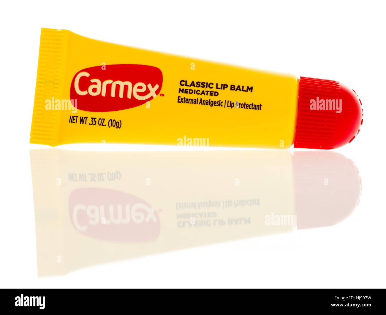 Winneconne, WI -22 January 2017:  Tube of Carmex classic lip balm on an isolated background. - Stock Image