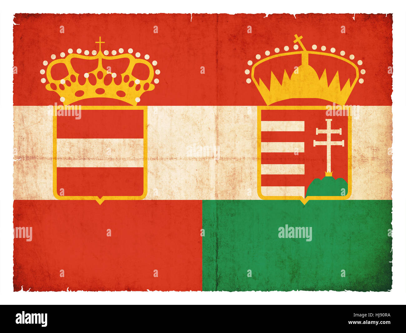 historic grunge flag of the austro-hungarian empire - Stock Image