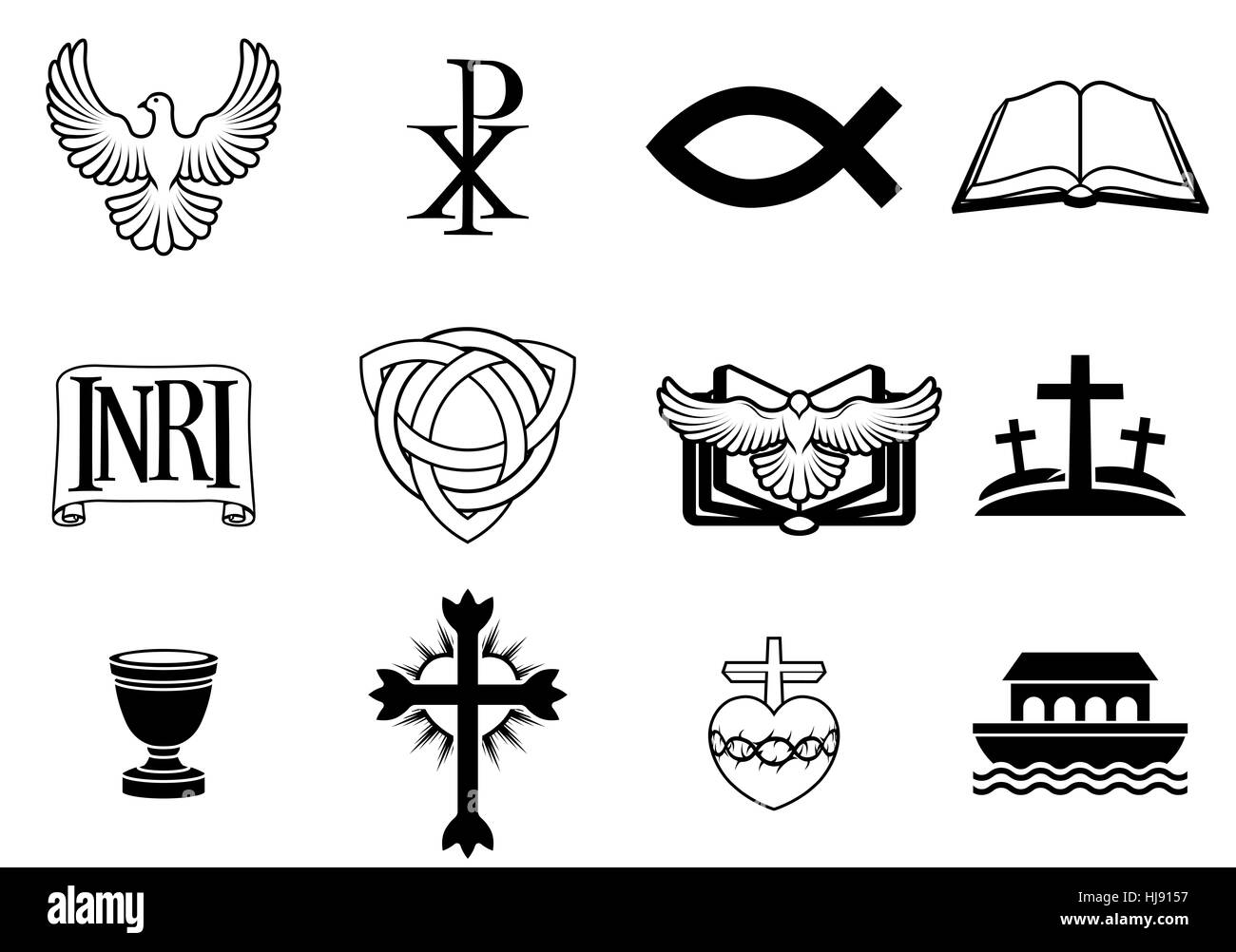 A set of Christian icons and symbols, including dove, Chi Ro, fish symbol, bible, INRI sign, trinity christogram, - Stock Image