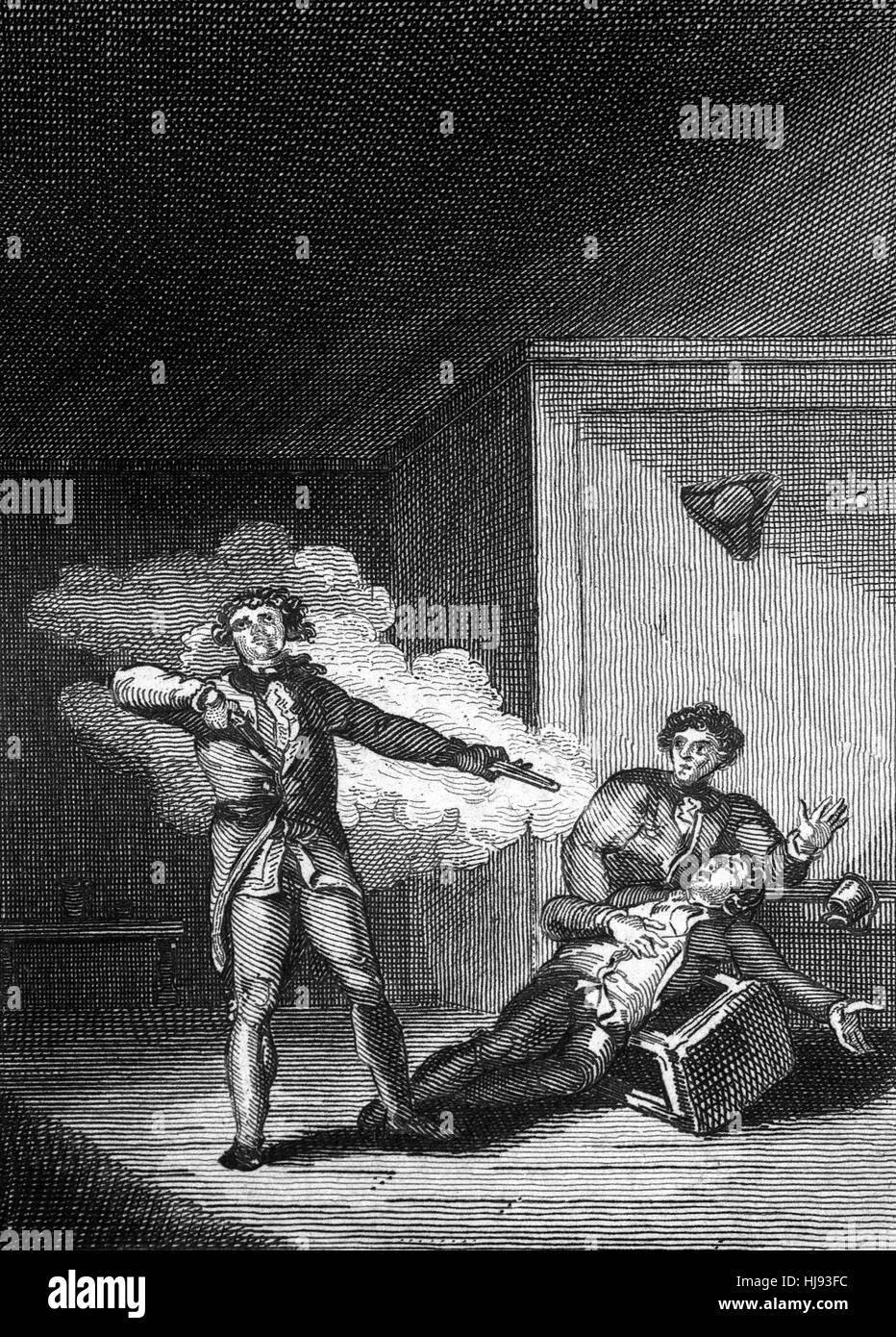 Francis David Stirn, (1735-1760) purchased two loaded pistols. Two days later, at about 10 pm he entered the Pewter - Stock Image