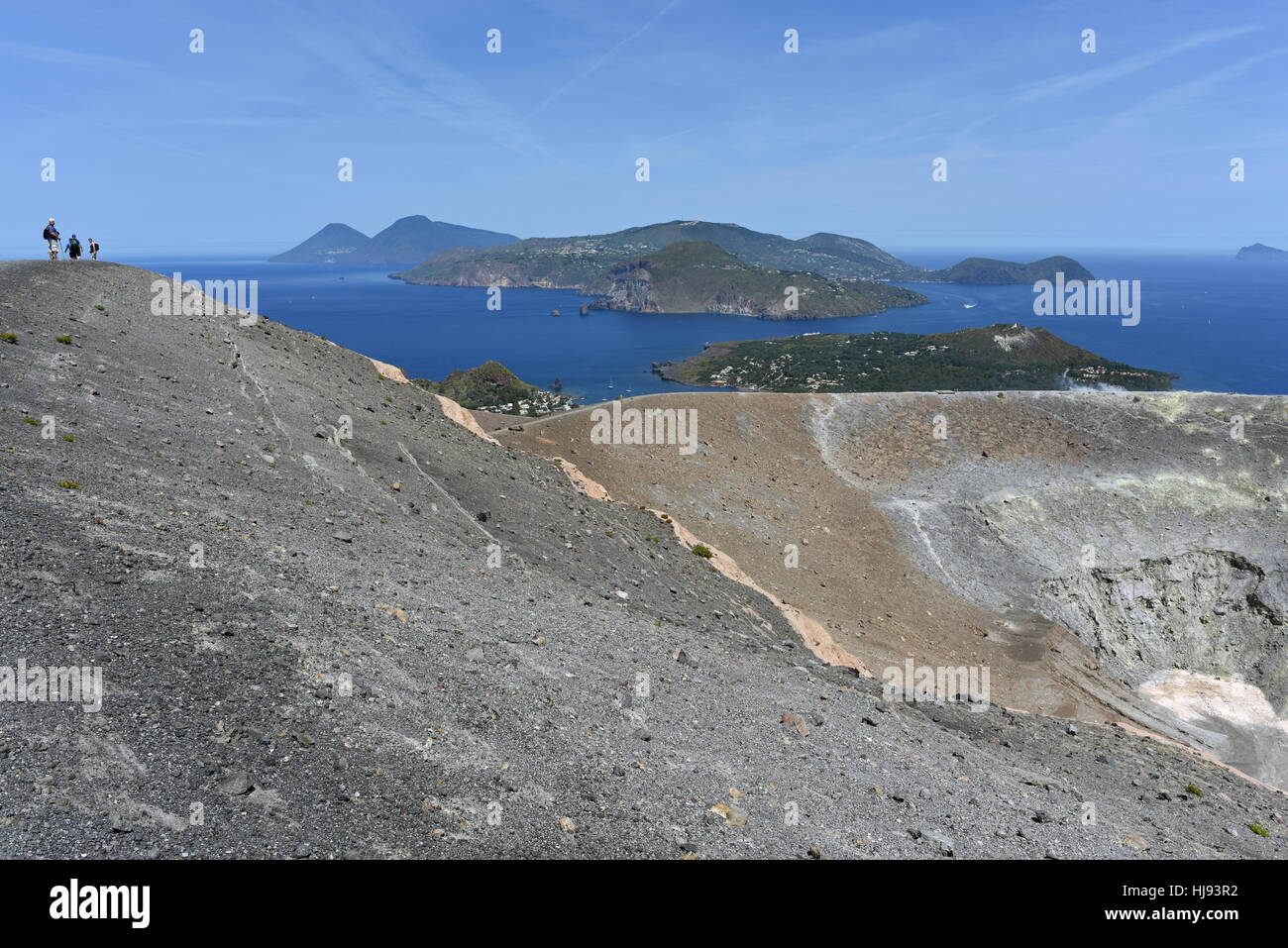 View from the Gran Cratere on Vulcano and several of the other Aeolian Islands, including Lipari, Salina and Panarea - Stock Image