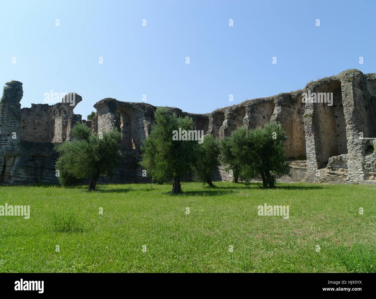 Ruins of Catullus Caves, roman villa in Sirmione, Garda Lake, Italy. Stock Photo